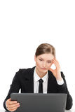 Dissatisfied angry woman with the laptop - bad results. White background Royalty Free Stock Images