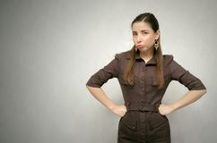 Angry business woman. royalty free stock photo