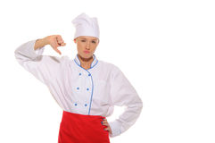 Dissatisfied beautiful woman cook Royalty Free Stock Image