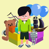 Dissatisfied boy against pile of children`s gifts vector cartoon Stock Image