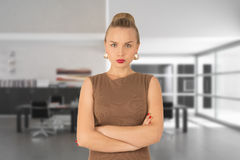 Dissatisfied business woman. A beautiful young woman in the office Royalty Free Stock Image