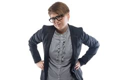 Dissatisfied business woman with short hair. Photo of dissatisfied pudgy business woman with short hair on white background royalty free stock photography