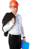 Dissatisfied businessman in helmet Royalty Free Stock Photos