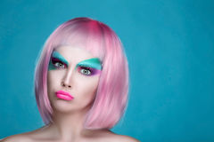 Dissatisfied Closeup Portrait of Puppet Creative Pink and Sereni Royalty Free Stock Images