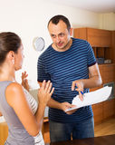 Dissatisfied customer complains to agent stock images