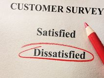 Dissatisfied customer survey. Dissatisfied circled in red circle on customer survey royalty free stock photography