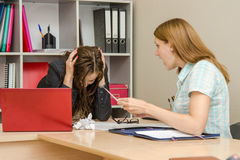 Dissatisfied customer yells at office specialist Stock Photography