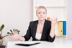 Dissatisfied employer woman during interview at office Royalty Free Stock Photo