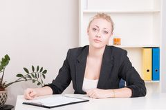 Dissatisfied employer woman during interview at office Stock Photos