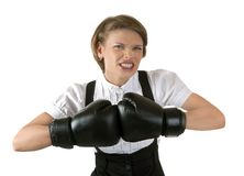 The dissatisfied girl in boxing gloves Stock Photos