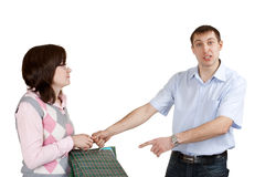 Dissatisfied man. And his girlfriend on white background royalty free stock images