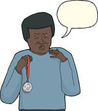 Dissatisfied Man with Medal. Dissatisfied African man holding silver medal over white Stock Photos