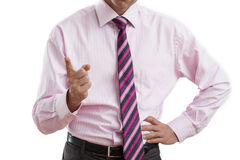 Dissatisfied manager. Angry dissatisfied manager on the white isolated background royalty free stock photo