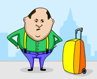 Dissatisfied tourist with a suitcase in the city Stock Image