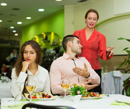 Dissatisfied visitors in restaurant Royalty Free Stock Image