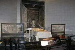 Dissectinon experiment room,Surgical tools, etc. Japanese Aggressor Troops 731 Armed Forces Ruins in Harbin. Bacterial virus infection evidence of war crimes Royalty Free Stock Image