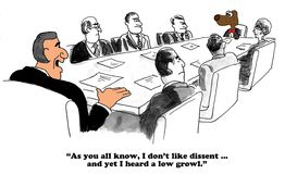 Dissent. Business cartoon about a boss that does not like dissent Royalty Free Stock Photo