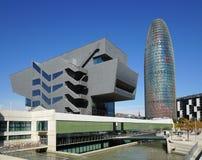 Disseny设计博物馆和Torre Agbar在巴塞罗那 库存照片