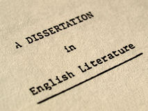 A dissertation in English literature royalty free stock image
