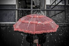 Dissimulation sous le parapluie Photos stock
