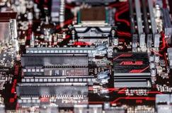 Dissipador de calor de Asus em um mainboard positivo da prima 350 do asus Imagem de Stock