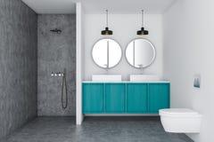 Dissipador do banheiro branco do sótão e chuveiro interiores, azuis ilustração do vetor
