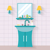 Dissipador do banheiro com espelho ilustração stock