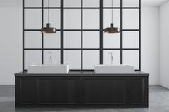 Dissipador dobro do banheiro, madeira escura e branco ilustração stock