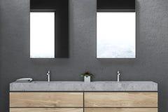 Dissipador dobro no fim interior do banheiro cinzento acima ilustração do vetor