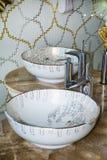 Dissipador interior do banheiro com projeto moderno Foto de Stock Royalty Free