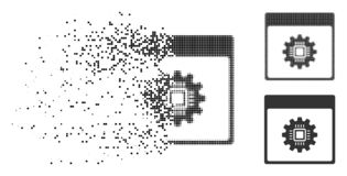 Dissipated Dot Halftone Chip Gear Calendar Page Icon. Chip gear calendar page icon in dispersed, pixelated halftone and solid versions. Elements are grouped into stock illustration