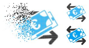 Dissipated Dotted Halftone Euro Banknotes Payments Icon. Euro banknotes payments icon in dispersed, pixelated halftone and undamaged versions. Fragments are royalty free illustration