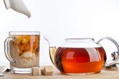 Dissolva o leite em um copo do chá preto Foto de Stock Royalty Free
