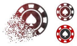 Dissolved Dotted Halftone Spades Casino Chip Icon. Spades casino chip icon in dispersed, pixelated halftone and undamaged solid variants. Pixels are organized vector illustration
