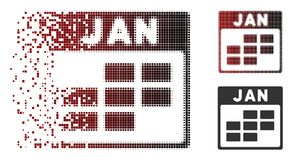 Dissolved Pixel Halftone January Calendar Grid Icon. Vector January calendar grid icon in sparkle, dotted halftone and undamaged solid variants. Disappearing stock illustration