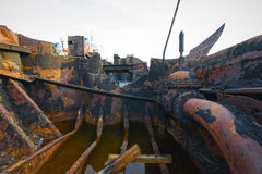 Dissolved ship. Detail of a dissolved ship in a scrap yard Stock Photos
