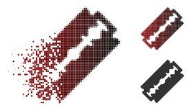 Dissolving Dotted Halftone Shaving Razor Blade Icon royalty free illustration