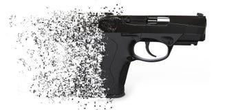 Dissolving semi automatic pistol Stock Image