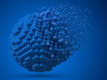 Dissolving spherical data block. made with blue cubes. 3d pixel style vector illustration. royalty free illustration