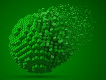 Dissolving spherical data block. made with green cubes. 3d pixel style vector illustration. vector illustration
