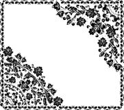 Dissymetric black curled floral frame Royalty Free Stock Photography
