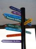 Distância da linha aérea nos quilômetros de Vancôver a outras cidades no mundo inteiro Foto de Stock