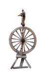 Distaff spinning wheel isolated. On white background stock image