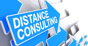Distance Consulting - Inscription on Blue Pointer. 3D. Royalty Free Stock Photo