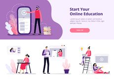 Distance courses. People working with laptops, watching video training. royalty free illustration