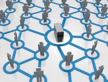 Distance Education. Human models connected together in a social network pattern Royalty Free Stock Images