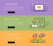 Distance Education for Children. Vector banners template set. Flat design electronic education banners template set. Education concept for web and app design Royalty Free Stock Images