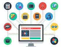 Distance Education Concept. Concept of online school, E learning. Icons set of web training and study online. Vector icons for distance education for banner, web Royalty Free Stock Images