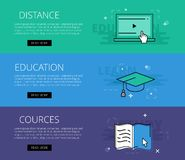 Distance Education Courses. Vector banners template set. Flat design electronic education banners template set. Education concept for web and app design Royalty Free Stock Photo