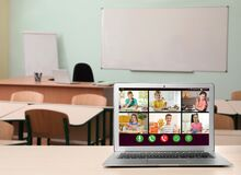 Free Distance Education During Quarantine And Lockdown Due To Covid-19 Pandemic. Laptop Displaying Online School Lesson In Stock Images - 191720834